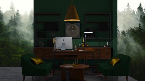 dark green office - Modern - Office  - by LI_VV