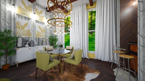 Green Black White Dining - Dining room - by amerveillov