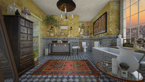 Bohemian Bathroom1 - Retro - Bathroom  - by Nufra