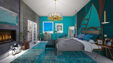 Turquoise Metal Bedroom - by Themis Aline Calcavecchia