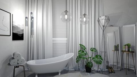 white and green bathroom - Bathroom - by W_elinor1
