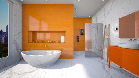 Orange and White Bathroom - Bathroom  - by heyfeyt