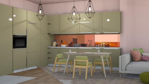 green and pink - Modern - Kitchen  - by NEVERQUITDESIGNIT