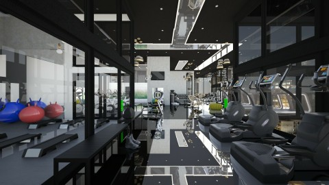gym with black celling - Modern - by Evangeline_The_Unicorn