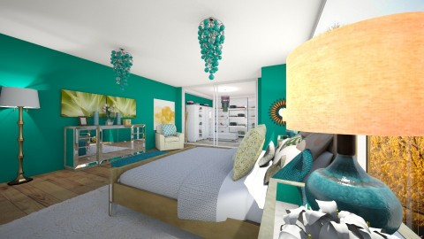 Turquoise Crazy 2017 - Glamour - Bedroom  - by fashiondesigner7