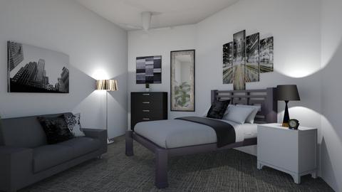 Black White Grey Bedroom - Bedroom  - by Lori Hallman Douglas