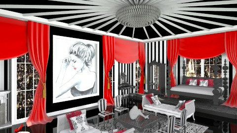 Striped Boudoir - Glamour - Bedroom  - by crosette