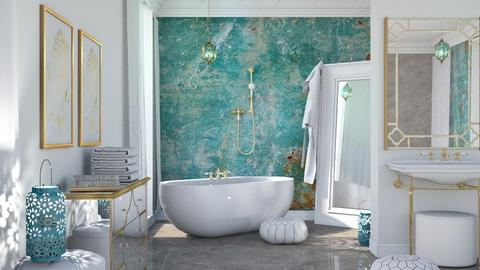 Turquoise Metal Bathroom - Bathroom - by ArtHousedeco