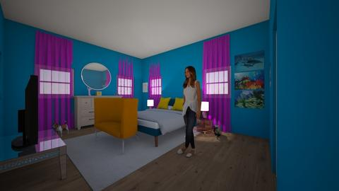 Brigits Spongbob Room - Retro - Bedroom  - by Bekah Catalano