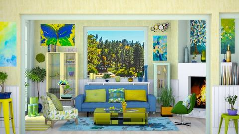 blue yellow green living  - by Teri Dawn