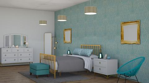 Turquoise and Gold bedroo - Bedroom  - by mackenziehulsizer