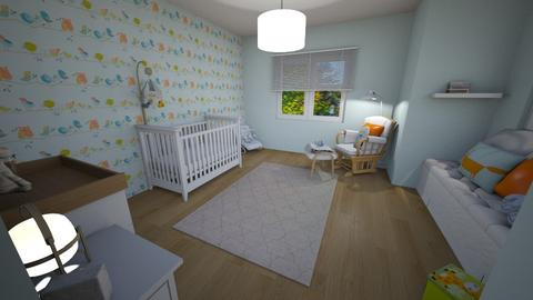 Blue and Orange Nursery - Minimal - Kids room  - by pfeilswdm
