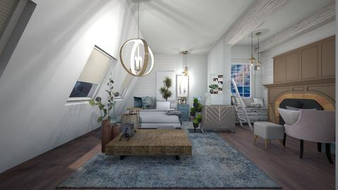 Rustic Blue Attic - Bedroom - by Creativity_Lane