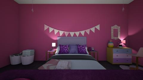pink and purple bedroom - Bedroom  - by sunnflowergirl