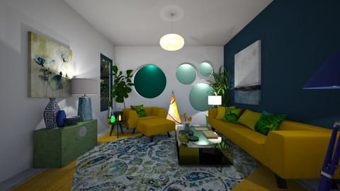 Blue yellow green living - by Themis Aline Calcavecchia