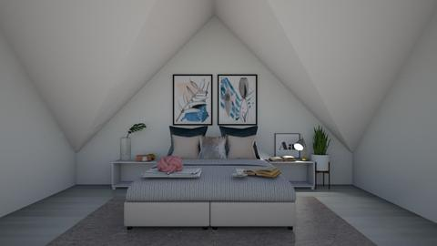 Minimalistic Attic Design - Bedroom  - by KittyKat28