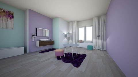 lavender playful bathroom - Bathroom - by Meg_