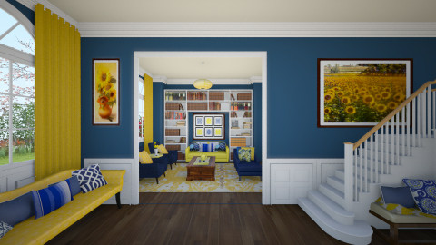 Blue and Yellow - Classic - Living room  - by maja97