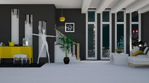 Yellow Black White - Eclectic - Living room  - by Boo Boo Boo