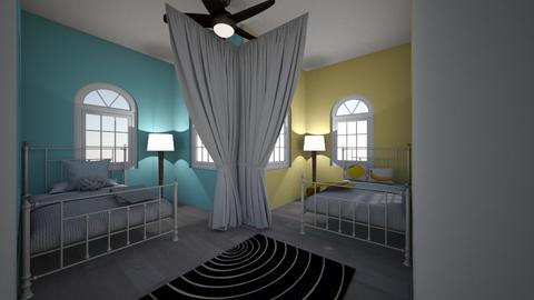 blue and yellow room - Kids room - by AleksandraMayI