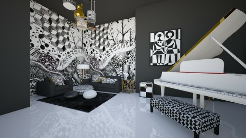 black and white - Living room - by jnd444