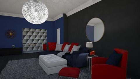 Red and blue living room - Living room  - by riordan simpson