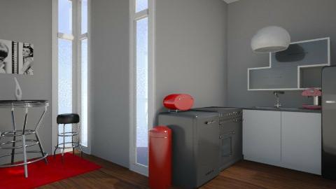 Monochrome with Red - Retro - Kitchen  - by JazzyAllen