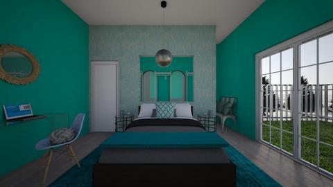 Turqoise metal bedroom - Bedroom - by ashley_rose04