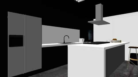 black and white kitchen - Kitchen - by Vlad Silviu