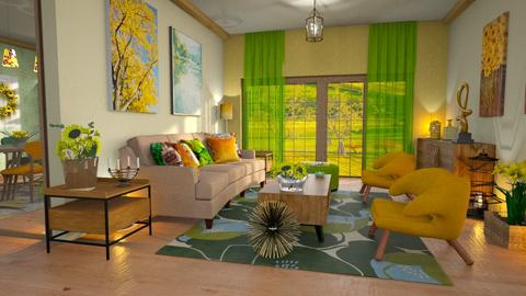 sunflower living room - Living room - by Moonpearl
