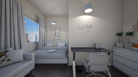 White apartment bedroom  - Bedroom  - by Maryann CLOY lover