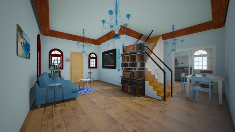 my room beauty blue - Living room  - by MiuSks