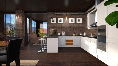 S_Glass and Brick - Kitchen  - by Shajia