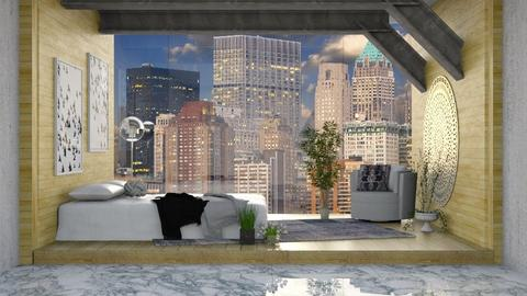 City Glass Wall - Modern - Bedroom  - by millerfam
