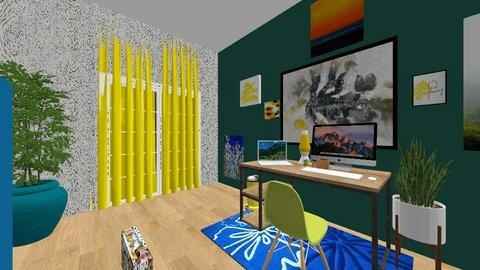 blue yellow and green  - Eclectic - Office  - by med095