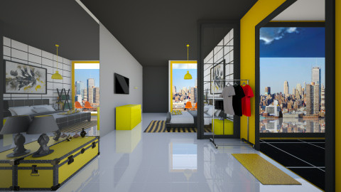 vibrant yellow - Minimal - Bedroom  - by sasasaaaw