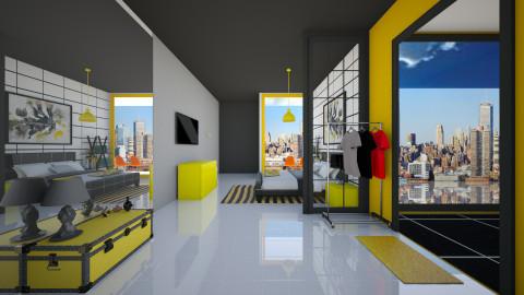 vibrant yellow - Minimal - Bedroom  - by sasasaaaw