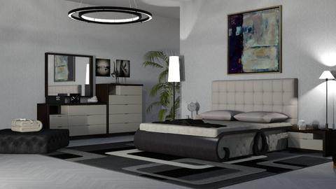 black and white rug - Bedroom  - by nat mi