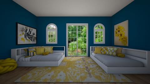 Yellow and Blue Bedroom - Glamour - Bedroom  - by BaylorBear