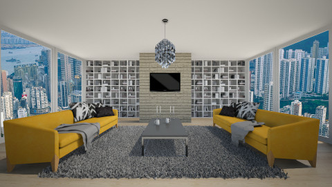 Symmetrical yellow - Modern - Living room  - by Keliann