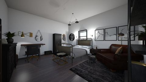 industrial bedroom - Bedroom  - by PeculiarLeah