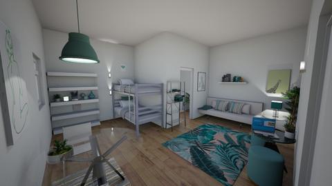 Teal Dorm Room - Bedroom  - by elladesign