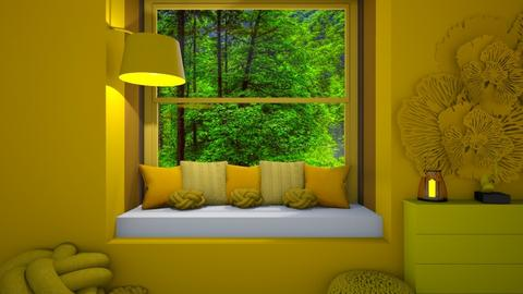 Yellow Window Seat - Retro - Living room  - by deleted_1607709771_Aesthetic Design
