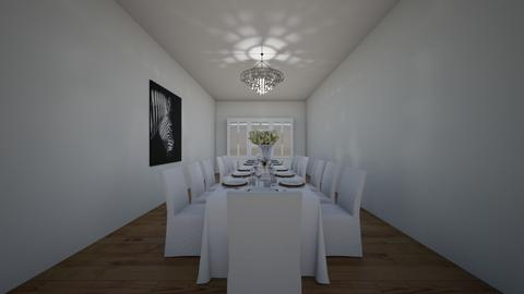 Modern White Dining Space - Dining room  - by xeniaaa