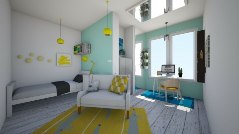 Yellow Blue Bedroom - Bedroom  - by Sunny Bunny