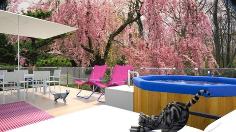 Pink and Cats Deck - Garden  - by Amyz625