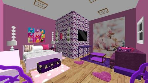 pink and purple bedroom - Bedroom  - by Niftydream