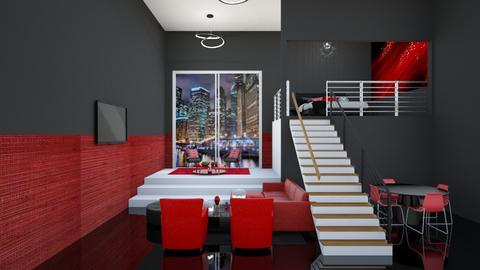 Red Black White - Living room  - by Feeny