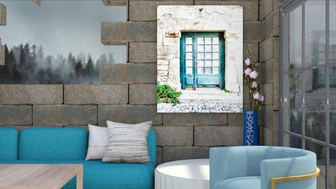 turquoise living - Living room  - by Swig