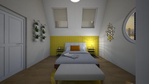 bright yellow bedroom - by lantrobus